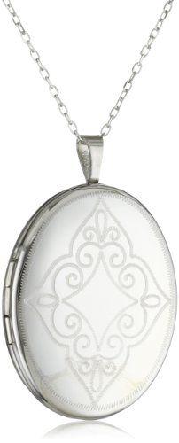 Momento Lockets Sterling Silver Oval Shaped Locket Necklace