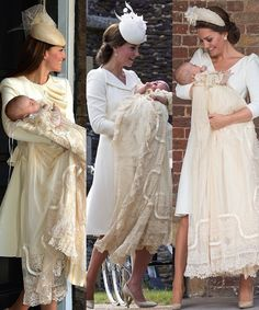 Catherine, Duchess of Cambridge, with each of her three babies on their Christening Days. (left to right) Prince George, Princess Charlotte, and Prince Louis. Kate Middleton Prince William, Prince William And Kate, The Duchess, Duchess Of Cambridge, Lady Diana, Princesa Kate Middleton, Elisabeth Ii, Kate Middleton Style, Royal Babies