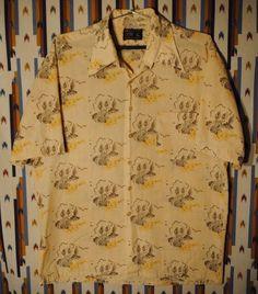 Vintage 70s Mens JCPenney Square Bottom Rockabilly Shirt Sz Large