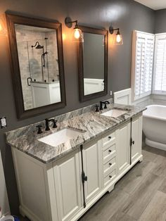 Life-changing bathroom remodel ideas for a small bathroom, vanity and bathroom mirror Looking to update your bathroom? Check out these affordable small bathroom remodel ideas and designs. Get inspired for your next home remodeling project. Bad Inspiration, Bathroom Inspiration, Bathroom Renovations, Home Remodeling, Bathroom Makeovers, Small White Bathrooms, Small Tub, Bathroom Small, Bathroom Black