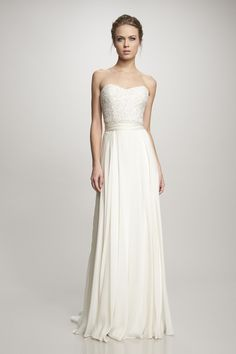 Off white strapless gown with beaded bodice and sash