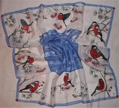 Hand painted Silk square scarf Bullfinch by stahl on Etsy