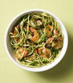 Linguine w/Shrimp & Spinach Pesto. http://www.womansday.com/food-recipes/food-drinks/recipes/a11969/linguine-with-shrimp-and-spinach-pesto-recipe/