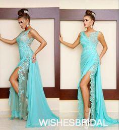 Wishesbridal Mint Green V Neck Chiffon Court Train Side Slit Sleeveless Trumpet #Mermaid Prom #Evening Dress Cwb0778