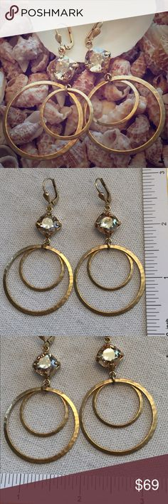 """Catherine Popesco Earrings Catherine Popesco Double Hoop Dangle Earrings """"Champagne"""" Color Swavorski Crystals 14K Gold Plated Catherine Popesco Jewelry Earrings"""