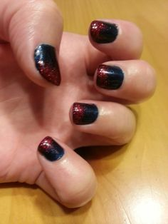Shellac 4th of july nails. Ruby ritz on top of midnight blue base