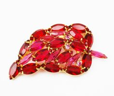 Rhinestone leaf Brooch -Juliana style - Pink Crystal - open back - gold plated- domed pin