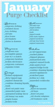 January purge checklist printable that helps you go through what needs to be thrown away and donated room by room. I do this every year and it's SO helpful! via @thetypicalmom