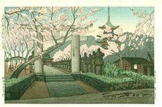 Cherry Blossoms at Tosho-gu, Ueno, by Okuyama Gihachiro, 1950