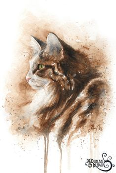15 Amazing Watercolour Cat Drawings And Cat Portraits By Artist Braden Duncan Watercolor Cat, Watercolor Animals, Watercolor Paintings, Portrait Watercolour, Watercolor Pencils, Watercolours, Art Aquarelle, Photo Chat, Cat Drawing