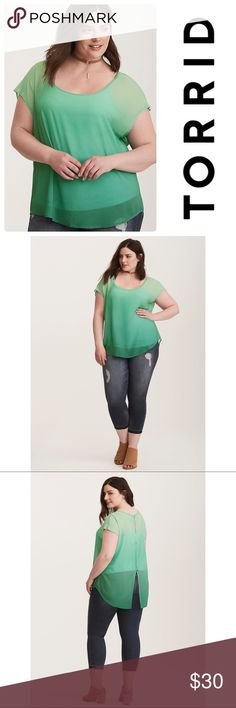 """NWT Torrid Ombré Top Pretty as the grass is green, this ethereal (and see-through) dolman top fades from a cool seafoam green on top to a forest green ombré on bottom. As if it couldn't get any prettier, there's a button back that's primed for a night out. Torrid size 0  Model is 5'10"""", size 1 Size 1 measures 29 1/2"""" from shoulderPolyesterWash cold, dry low torrid Tops Blouses"""