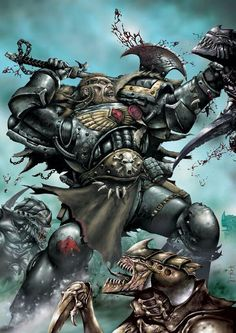 A Space Marine of the Space Wolves Chapter dispatches a brood of Tyranid Hormagaunts. This image was created for the cover of Lone Wolves, a Space Wolf graphic novel. Warhammer 40k Space Wolves, Warhammer 40k Art, Warhammer Fantasy, Ultramarines, Tyranids, Angel Of Death, The Grim, Monster Hunter, Space Marine