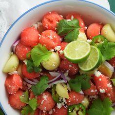 Refreshing Cucumber-Watermelon Salad @keyingredient #honey #cheese