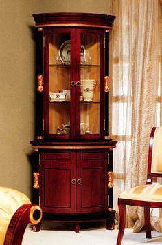 Rosewood Baroque Corner Curio Cabinet
