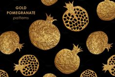 by xgart on Pattern design perfect for sewing, wallpaper, textile, moda or simple for inspiration and good new ideas. Hand drawn graphic art with golden pomegranate. Pomegranate Tattoo, Pomegranate Art, Gold Candy, Crown Pattern, Elements Of Art, Patterns In Nature, Graphic Patterns, Painting Patterns, Presentation Design