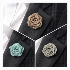 Beautiful and perfect finished rose flower boutonniere. Made of silk. Size: approx 1 1/4 inch wide.  These boutonnieres are wearing on narrow lapel suit which make them look bigger than their actual size.  Each boutonniere will vary slightly in size and shape due to the handmade nature.  This listing is for ONE boutonniere.  Custom Designs: Since all of items are handmade they can be customized specifically for you. Please feel free to contact us.  Delivery:Standard registered international…
