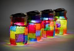 vintage atlas & ball glass top mason jars ..handmade solar lights
