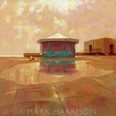 """Time Out Of Season"". Hove seafront in the winter. Oil on board 12"" x 12"""