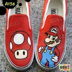 Super Mario Mary cartoon figure hand painted tennis shoes for children men and women(China (Mainland)) Painted Sneakers, Hand Painted Shoes, Kid Shoes, Vans Shoes, Shoes Men, Custom Sneakers, Custom Shoes, Sneakers Fashion, Fashion Shoes