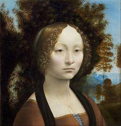 LEONARDO ,da Vinci Italian High Renaissance Painter and Inventor (1452-1519)_Ginevra de' Benci c1474-8
