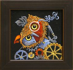 """This is a very fun guy. He greets us every day with joy! The artist is """"Sooz"""", Susan Jillette."""