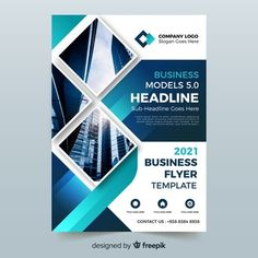 Abstract bussiness flyer with photo template Free Vector Pamphlet Design, Booklet Design, Graphic Design Brochure, Graphic Design Posters, Poster Designs, Business Flyer Templates, Business Card Design, Photo Templates Free, Company Profile Design