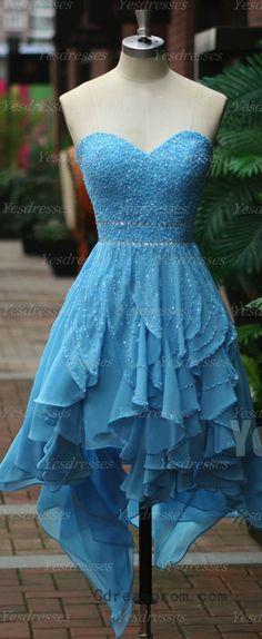 Tiffany blue sweetheart ruffle homecoming dress