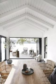 An Effortlessly Stylish and Relaxed Summer Vibe from House Doctor House styles Let's Celebrate Summer with this Awe-Inspiring and Effortlessly Stylish Outdoor Space - NordicDesign House Design, Home, Beach House Interior, Modern House, House Doctor, House Styles, House Interior, Modern Lake House, Inspiring Outdoor Spaces