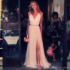New Sexy V Neck Chiffon Bohemian Lace A-Line V Neck Split Side Sweep Train Wedding Dresses Beach With Slit Front and Open Back Wedding Gowns