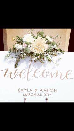 Dahlia welcome sign wedding gold writing flowers foilage instagram @ivyandlaceloves
