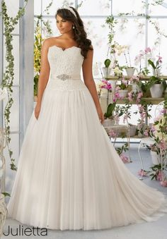 Plus Size Wedding Dress 3193 Embroidered Lace Bodice onto the Soft Net  Ball Gown Skirt with Medallion Beaded Satin Waistband