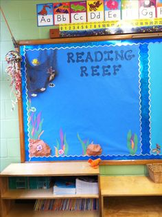 "Ocean Classroom Decor and Organization Bundle - ""Reading Reef""- ocean themed bulletin board. Post weekly objectives or literacy anchor charts. Disney Classroom, New Classroom, Kindergarten Classroom, Classroom Themes, Classroom Organization, Ocean Themed Classroom, Primary Classroom Displays, Classroom Images, Teaching Themes"