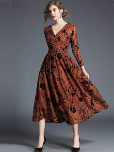 Buy Chic V-Neck Embroidery Long Sleeve Maxi Dress with High Quality and Lovely Service at DressSure.com