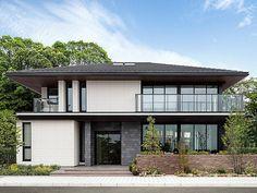 つくばANNEX展示場 茨城県 関東エリア 全国の住宅展示場 家を建てるなら 注文住宅 ダイワハウス Facade House, House Roof, American Style House, Modern Tropical House, Two Story House Design, Japanese Style House, Prairie Style Houses, House Extension Design, Model House Plan