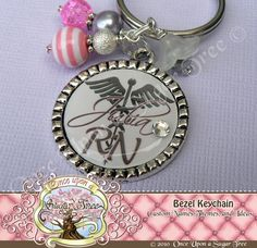 RN Nursing Personalized Name Pink and Gray Bezel Keychain, Graduation Graduate NP, LPN, Gift Present by Once Upon a Sugar Tree No. 12 on Etsy, $17.00
