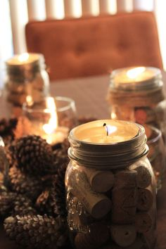 Mason Jar Cork candle - fill a mason jar with corks (or something else) and add a tealight candles (dollar tree has perfect ones) into a deep lid