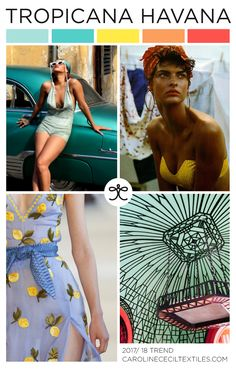 TROPICANA HAVANA trend inspiration for 2017 / 2018 from #carolinececiltextiles | trend | color | aw17 | fashion trends | pastel | trend inspiration | textiles | mood board | pistachio | color trend | pattern | textile trend | SS17 | SS18 | cuba | havana | altuzarra | tropical trend | tropical prints | nyfwss17 | nyfw | fashion week