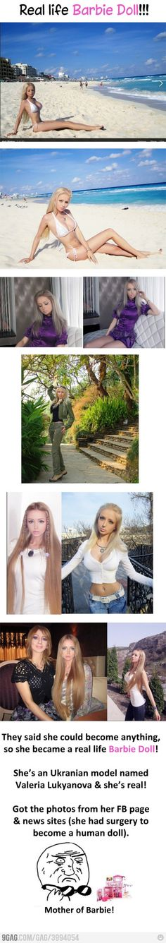 Despite what the information says, this woman did NOT have surgery to look this way. She is naturally this gorgeous, and even though I am jealous, I do not hate her for being this way. She is just lucky...I found a picture with her mom and sister and they all have this barbie figure!