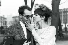 Anna Karina with Jean-Luc Godard on their wedding day, March 1961. Photo by Agnès Varda.
