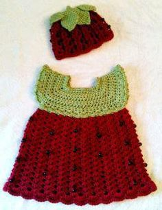 """Strawberry crochet --""""no longer available"""", but could adopt similar pattern & use these colors, added embroidery, etc."""