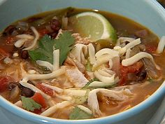 Chicken Tortilla Soup recipe from Rescue Chef via Food Network Simmer a recipe for spicy Chicken Tortilla Soup from Food Network that's loaded with fire-roasted tomatoes, black beans, jalapenos and more. Mexican Food Recipes, Soup Recipes, Chicken Recipes, Dinner Recipes, Cooking Recipes, Healthy Recipes, Recipe Chicken, Mexican Dishes, Slow Cooker