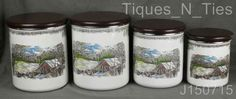 Set 4 Johnson Brothers The Friendly Village Metal Canisters Wood Lids RARE (JJ)    eBay