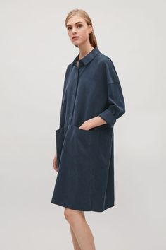 COS image 2 of Oversized shirt dress  in Navy
