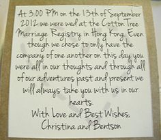 Nothing Fancy Just Love wedding elopement announcement card that ...