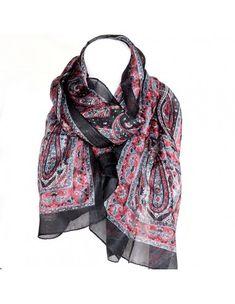 Ce foulard indien est un foulard en soie noir à motifs roses avec quelques  petites touches 3859142515b
