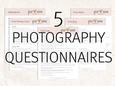Photography business forms Photography questionnaires, portrait and wedding marketing branding forms 10 editable files