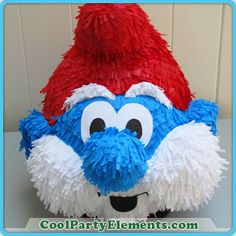 Papa Smurf pinata Diy Birthday, Birthday Party Decorations, Party Themes, Birthday Parties, Elmo Party, Cupcake Party, Diy And Crafts, Paper Crafts, Paper Mache Clay