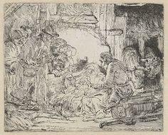 Rembrandt,Adoração dos Pastores:com lamparinas, 1654