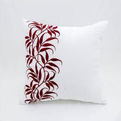 Rojo de la hoja cubierta de almohadas decorativas, blanco lino rojo bordado de la hoja, vacaciones almohada, Floral funda de almohada, almohada de Navidad, decoración de vacaciones