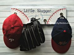 Baseball Wall Hook Hanger Little Slugger Team Color Furniture Sports Decor Ball Rustic Red White Blue